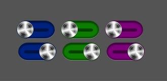 Conjunto del interruptor deslizante del metal del vector Fotos de archivo