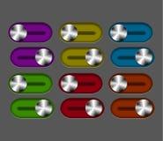 Conjunto del interruptor deslizante del metal del vector Foto de archivo