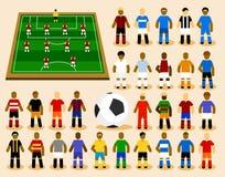 Conjunto del jugador de fútbol en la formación. Imágenes de archivo libres de regalías