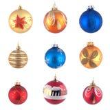 Conjunto del juguete del árbol de navidad foto de archivo libre de regalías