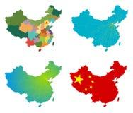 Conjunto del mapa de China del vector Foto de archivo libre de regalías