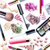 Conjunto del maquillaje. Collage imagen de archivo