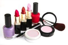Conjunto del maquillaje de los accesorios Imagenes de archivo
