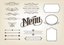 Conjunto del menú de la caligrafía Foto de archivo libre de regalías