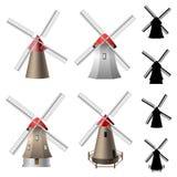 Conjunto del molino de viento stock de ilustración