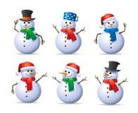 Conjunto del muñeco de nieve Fotos de archivo libres de regalías