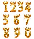 Conjunto del número de la jirafa Imagenes de archivo