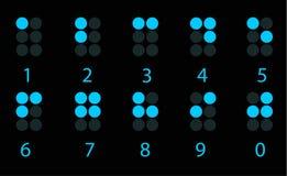 Conjunto del número digital azul de braille Imagen de archivo