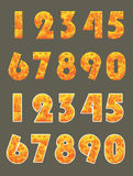 Conjunto del número quemado con estilo de la etiqueta engomada Imágenes de archivo libres de regalías