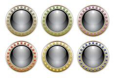 Conjunto del negro de 6 botones brillantes de las combinaciones de color Imagen de archivo