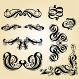 Conjunto del ornamento de la caligrafía Fotos de archivo libres de regalías