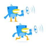 Conjunto del pájaro divertido del azul de la historieta stock de ilustración