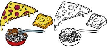 Conjunto del pan de ajo de la pizza de las pastas Fotos de archivo libres de regalías