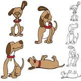 Conjunto del perro de la historieta Foto de archivo libre de regalías