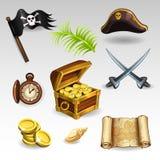 Conjunto del pirata Fotografía de archivo