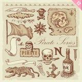 Conjunto del pirata stock de ilustración