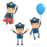 Conjunto del policía divertido de la historieta Imágenes de archivo libres de regalías