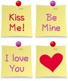 Conjunto del post-it del día de tarjetas del día de San Valentín Fotos de archivo libres de regalías