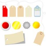 Conjunto del precio y de la etiqueta engomada Fotografía de archivo libre de regalías