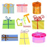 Conjunto del rectángulo de regalo stock de ilustración