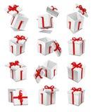 Conjunto del rectángulo de regalo del vector Imágenes de archivo libres de regalías