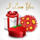 Conjunto del regalo de la tarjeta del día de San Valentín stock de ilustración