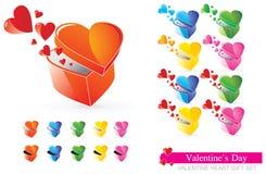 Conjunto del regalo del corazón de la tarjeta del día de San Valentín Imagenes de archivo