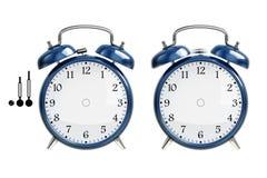 Conjunto del reloj de alarma azul fotografía de archivo libre de regalías