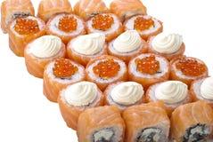 Conjunto del rodillo del sushi aislado en blanco Foto de archivo libre de regalías