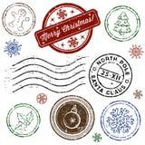 Conjunto del sello de la Navidad aislado en blanco. Vector Foto de archivo