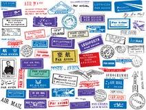 Conjunto del sello del correo aéreo Imagen de archivo libre de regalías