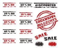 Conjunto del sello del grunge de los descuentos de las ventas Fotografía de archivo libre de regalías