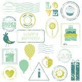 Conjunto del sello del vector del cumpleaños Fotografía de archivo libre de regalías