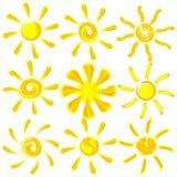 Conjunto del sol de la pintura del cepillo del vector del icono Fotografía de archivo libre de regalías