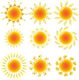 Conjunto del sol nueve   Imagen de archivo