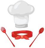 Conjunto del sombrero del cocinero, de la bufanda roja, de la cuchara y de la fork Imágenes de archivo libres de regalías