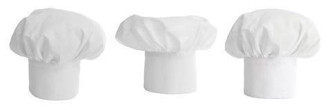 Conjunto del sombrero o del casquillo del cocinero aislado Foto de archivo libre de regalías