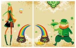 Conjunto del St Patrick de tarjetas Imágenes de archivo libres de regalías
