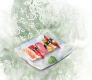 Conjunto del sushi de la acuarela Fotos de archivo libres de regalías