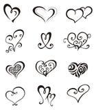 Conjunto del tatuaje del â de los corazones stock de ilustración