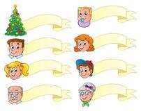 Conjunto del tema de las banderas de la Navidad   Imágenes de archivo libres de regalías