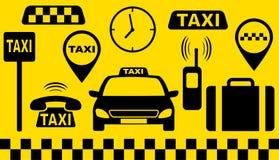 Conjunto del transporte de objetos del taxi Imagen de archivo