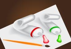 Conjunto del tubo con la pintura, el cepillo y el papel Imagen de archivo libre de regalías