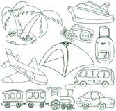 Conjunto del turismo y del transporte Fotografía de archivo libre de regalías
