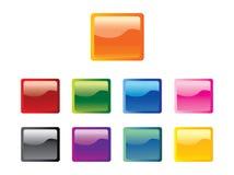 Conjunto del vector brillante cuadrado de los botones Fotos de archivo libres de regalías