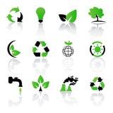 Conjunto del vector de ambiental/de reciclar iconos Fotos de archivo libres de regalías