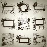 Conjunto del vector de bastidores con las hojas del otoño. Thanksgiv Fotografía de archivo libre de regalías