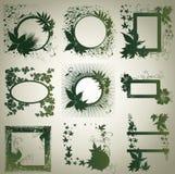 Conjunto del vector de bastidores con las hojas del otoño. Thanksgiv Imagen de archivo