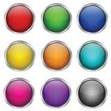 Conjunto del vector de botones de cristal redondos Fotografía de archivo