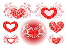 Conjunto del vector de corazones Fotos de archivo
